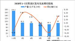 2020年7月黑龙江发电量数据统计分析