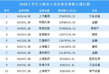 2020上半年上海市上市企业100强排行榜