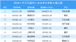2020上半年甘肃省上市企业营业收入30强排行榜