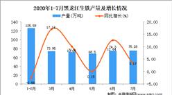 2020年7月黑龙江生铁产量数据统计分析