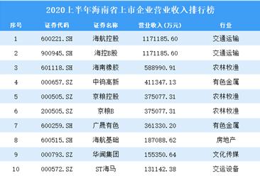 2020上半年海南省上市企业30强排行榜