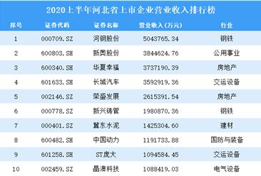 2020上半年河北省上市企业营业收入排行榜