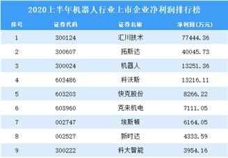 2020上半年机器人行业上市企业净利润排行榜
