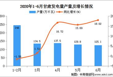 2020年1-6月甘肃省发电量产量为774.10亿千瓦小时  同比增长7.86%