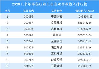 2020上半年环保行业上市企业营业收入排行榜