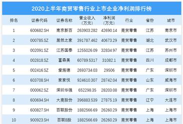 2020上半年商贸零售行业上市企业净利润排行榜  TOP100(附榜单)