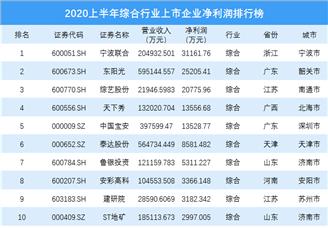 2020上半年综合行业上市企业净利润排行榜(附榜单)