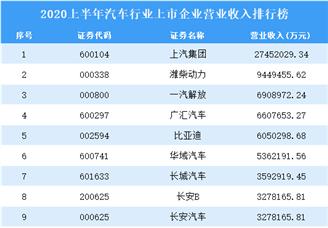 2020上半年汽车行业上市企业营业收入100强排行榜