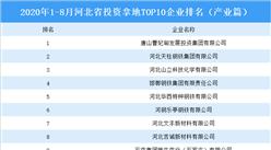 产业地产投资情报:2020年1-8月河北省投资拿地前十企业排行榜(产业篇)