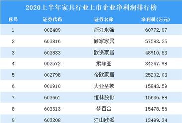 2020上半年家具行业上市企业净利润排行榜