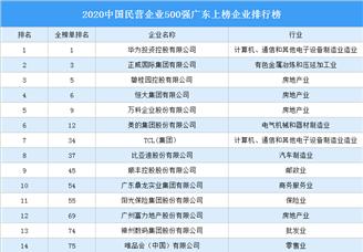 2020中国民营企业500强广东上榜企业排行榜