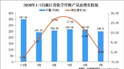 2020年7月浙江省化學纖維產量數據統計分析