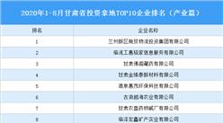 产业地产投资情报:2020年1-8月甘肃省投资拿地TOP10企业排名(产业篇)