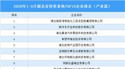 产业地产投资情报:2020年1-8月湖北省投资拿地TOP10企业排名(产业篇)