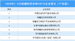 产业地产投资情报:2020年1-8月新疆投资拿地TOP10企业排名(产业篇)