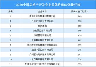 2020中国房地产开发企业品牌价值50强排行榜