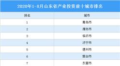 2020年1-8月山东省产业投资前十城市排名(产业篇)