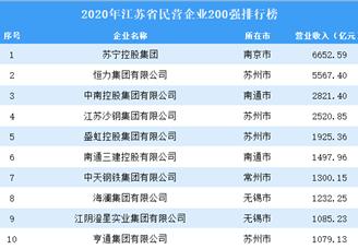 2020年江苏省民营企业200强排行榜