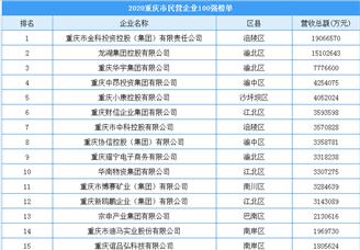 2020年重庆市民营企业100强排行榜(附榜单)