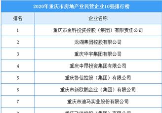 2020年重庆市房地产业民营企业10强排行榜