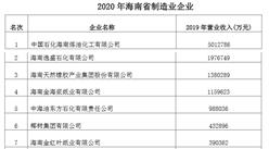 2020年海南省制造业企业排行榜