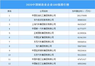 2020中国制造业企业500强排行榜(附完整榜单)