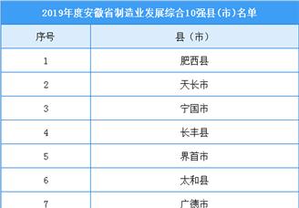 2019年度安徽省制造业发展综合10强县(市)排行榜