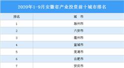 2020年1-9月安徽省产业投资前十城市排名(产业篇)