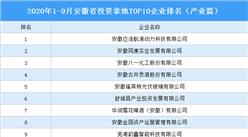 产业地产投资情报:2020年1-9月安徽省投资拿地TOP10企业排名(产业篇)