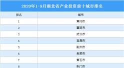 2020年1-9月湖北省產業投資前十城市排名:黃岡第一(產業篇)