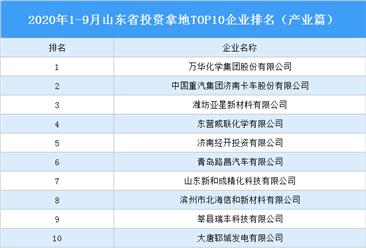 产业地产投资情报:2020年1-9月山东省投资拿地TOP10企业排名(产业篇)