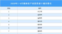 2020年1-9月湖南省产业投资前十城市排名(产业篇)