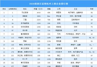 2020胡润百富榜杭州上榜企业排行榜