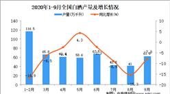 2020年1-9月中国白酒产量数据统计分析