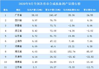 2020年9月全国各省市合成洗涤剂产量排行榜