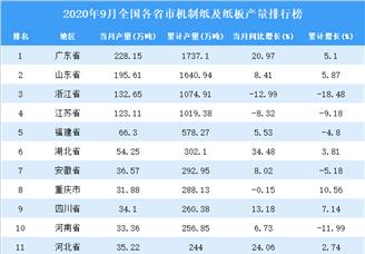 2020年9月全国各省市机制纸及纸板产量排行榜