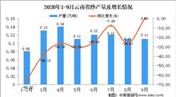 2020年9月云南省纱产量数据统计分析