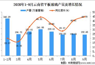 2020年9月云南省平板玻璃产量数据统计分析