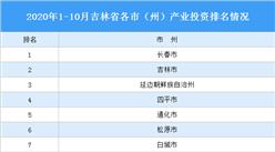 2020年1-10月吉林省各市产业投资排名(产业篇)