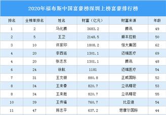 2020年福布斯中国富豪榜深圳上榜富豪排行榜