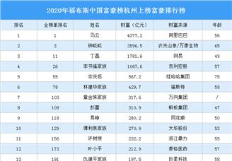 2020年福布斯中國富豪榜杭州上榜富豪排行榜
