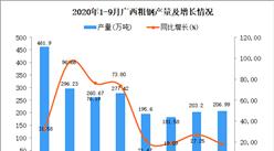 2020年9月广西粗钢产量数据统计分析