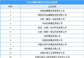 2020年安徽省制造业百强企业排行榜(附榜单)