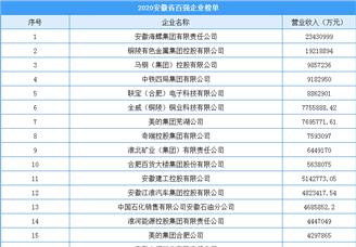2020年安徽省综合百强企业排行榜(附榜单)