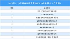 产业地产投资情报:2020年1-10月湖南省投资拿地TOP10企业排名(产业篇)