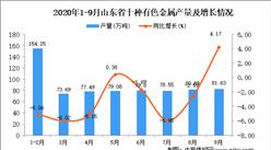 2020年9月山东省十种有色金属产量数据统计分析