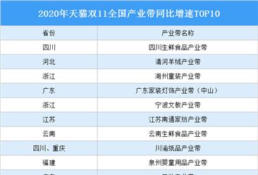 2020年天猫双11全国产业带同比增速TOP10:哪些产业带入选?(图)