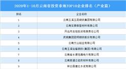 產業地產投資情報:2020年1-10月云南省投資拿地TOP10企業排名(產業篇)