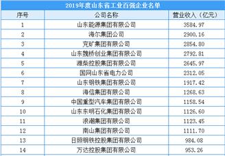 2020年山东省工业百强企业排行榜(附完整榜单)