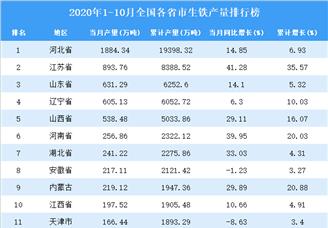 2020年1-10月全国各省市生铁产量排行榜